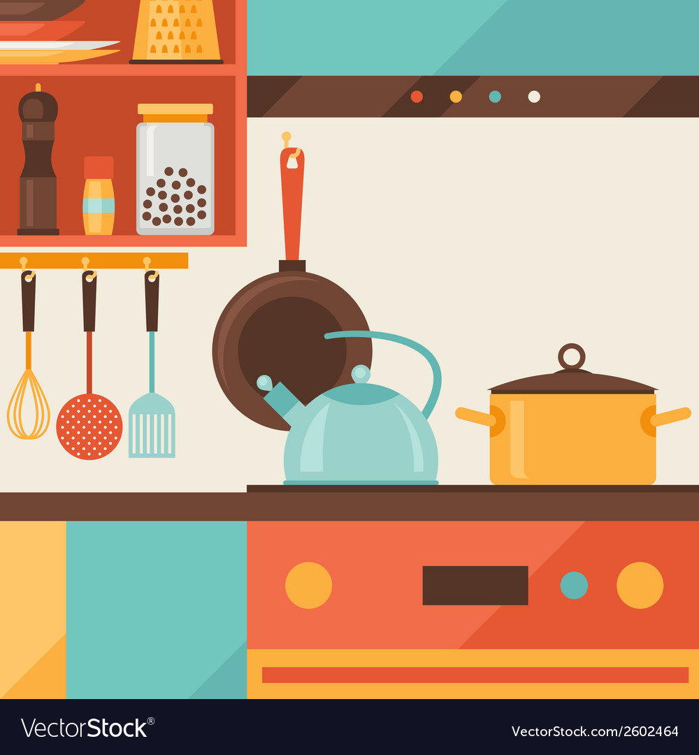 Card with kitchen interior and cooking utensils in vector | Price: 1 Credit (USD $1)