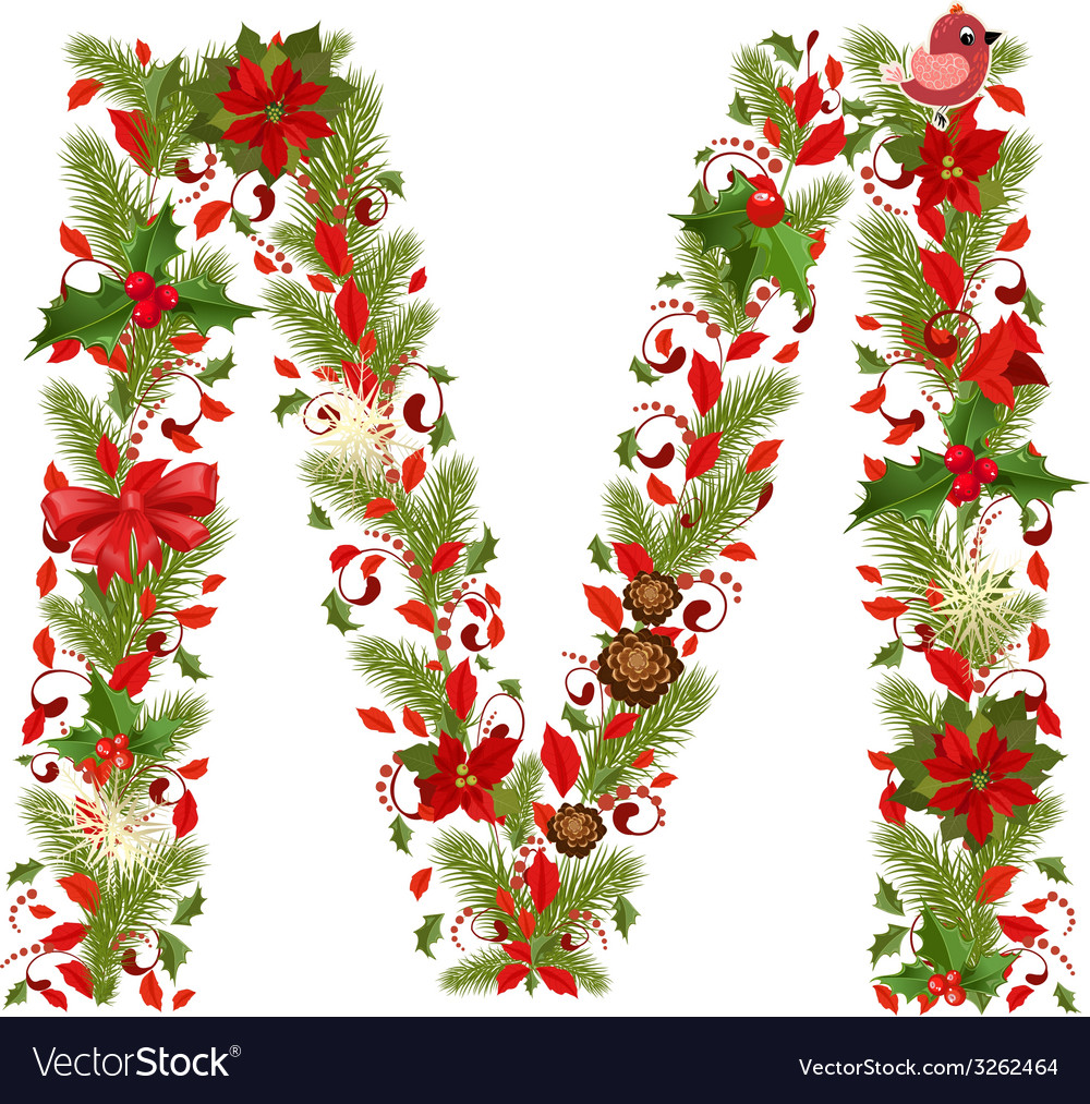Christmas floral tree letter m vector | Price: 1 Credit (USD $1)