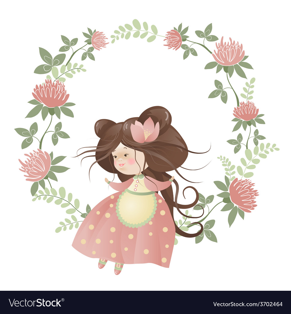 Cute girl in flower wreath vector | Price: 1 Credit (USD $1)