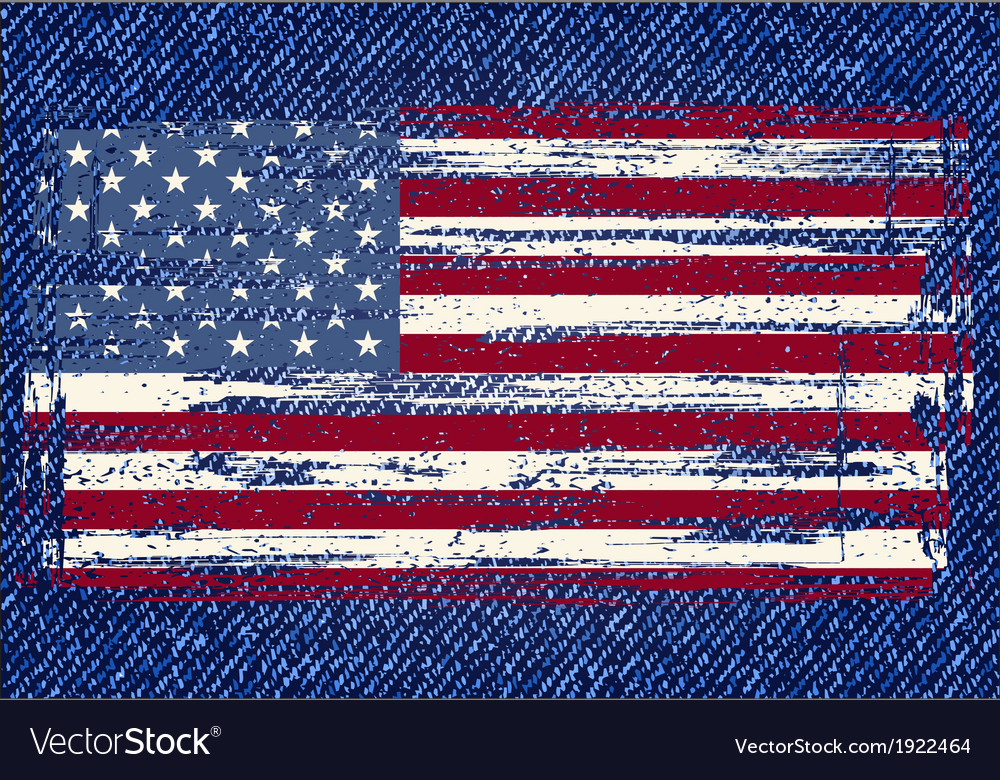 Grunge american flag on jeans background vector | Price: 1 Credit (USD $1)
