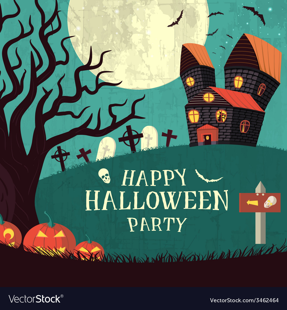 Halloween time background concept in retro style vector   Price: 1 Credit (USD $1)