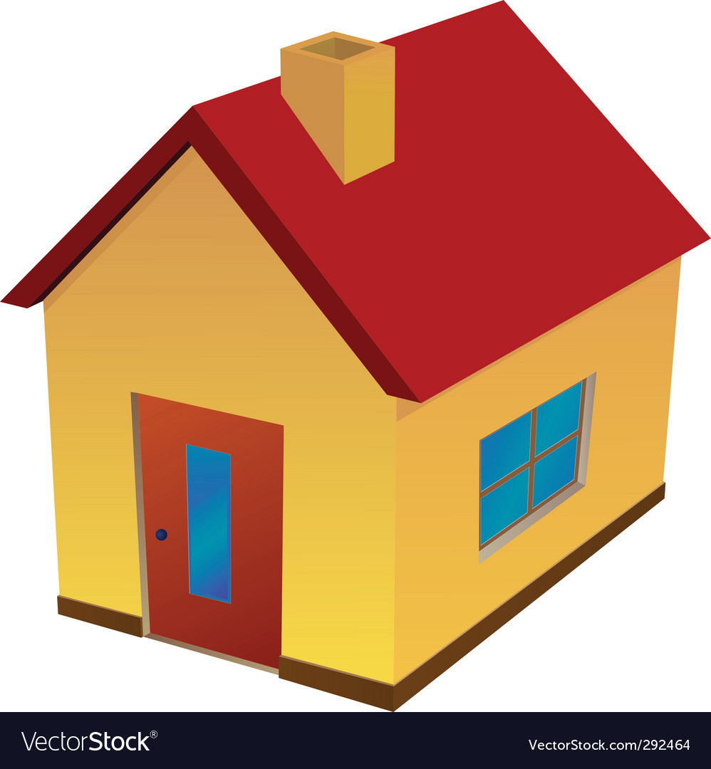 Yellow house with red roof vector | Price: 1 Credit (USD $1)