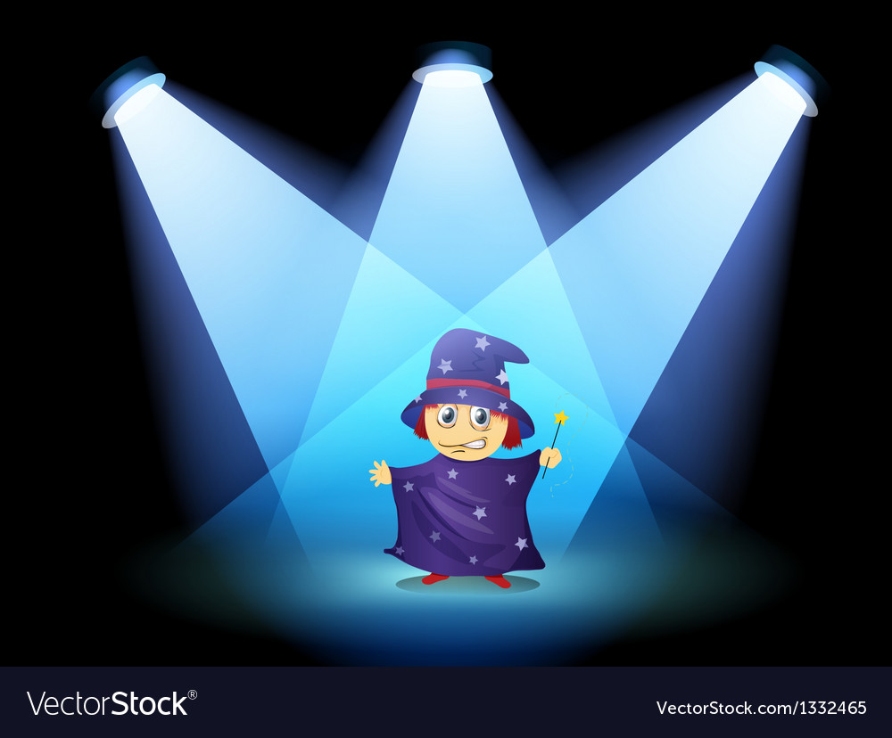 A magician standing at the stage with spotlights vector | Price: 1 Credit (USD $1)