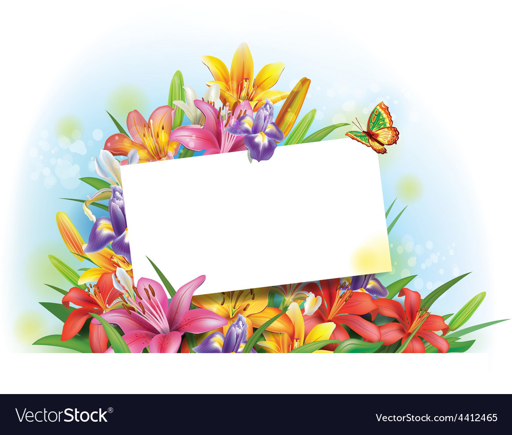 Arrangement of flowers with empty greeting card vector | Price: 3 Credit (USD $3)