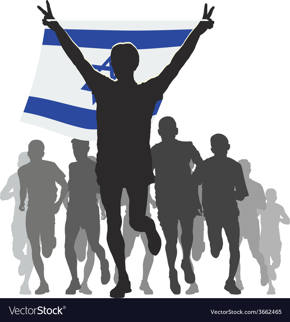 Athlete with the israel flag at the finish vector | Price: 1 Credit (USD $1)