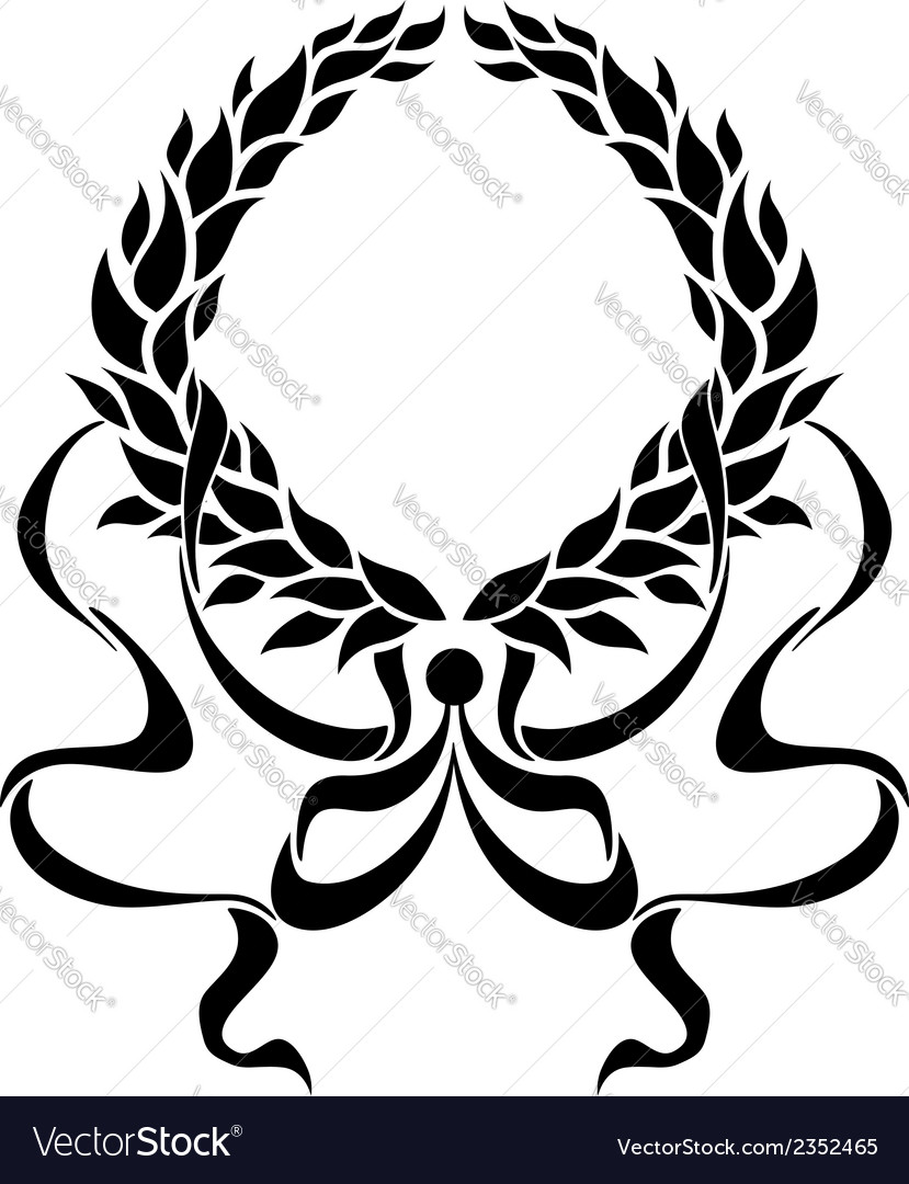 Black foliate circular wreath with ornate ribbons vector | Price: 1 Credit (USD $1)