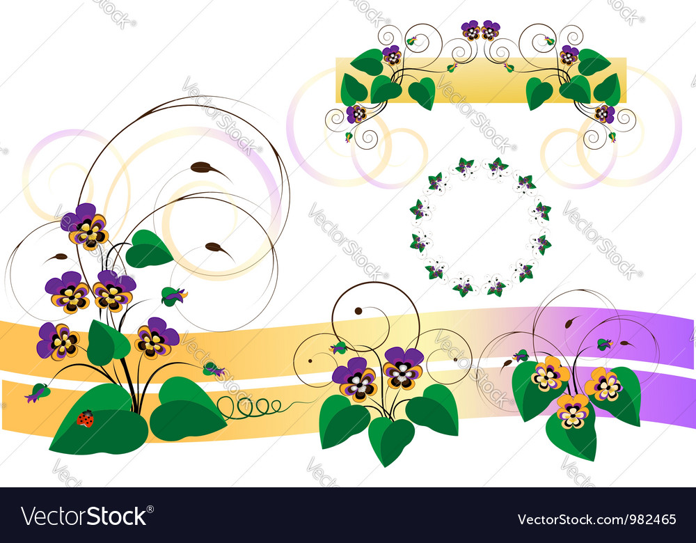 Bouquets of violets pansy vector | Price: 1 Credit (USD $1)