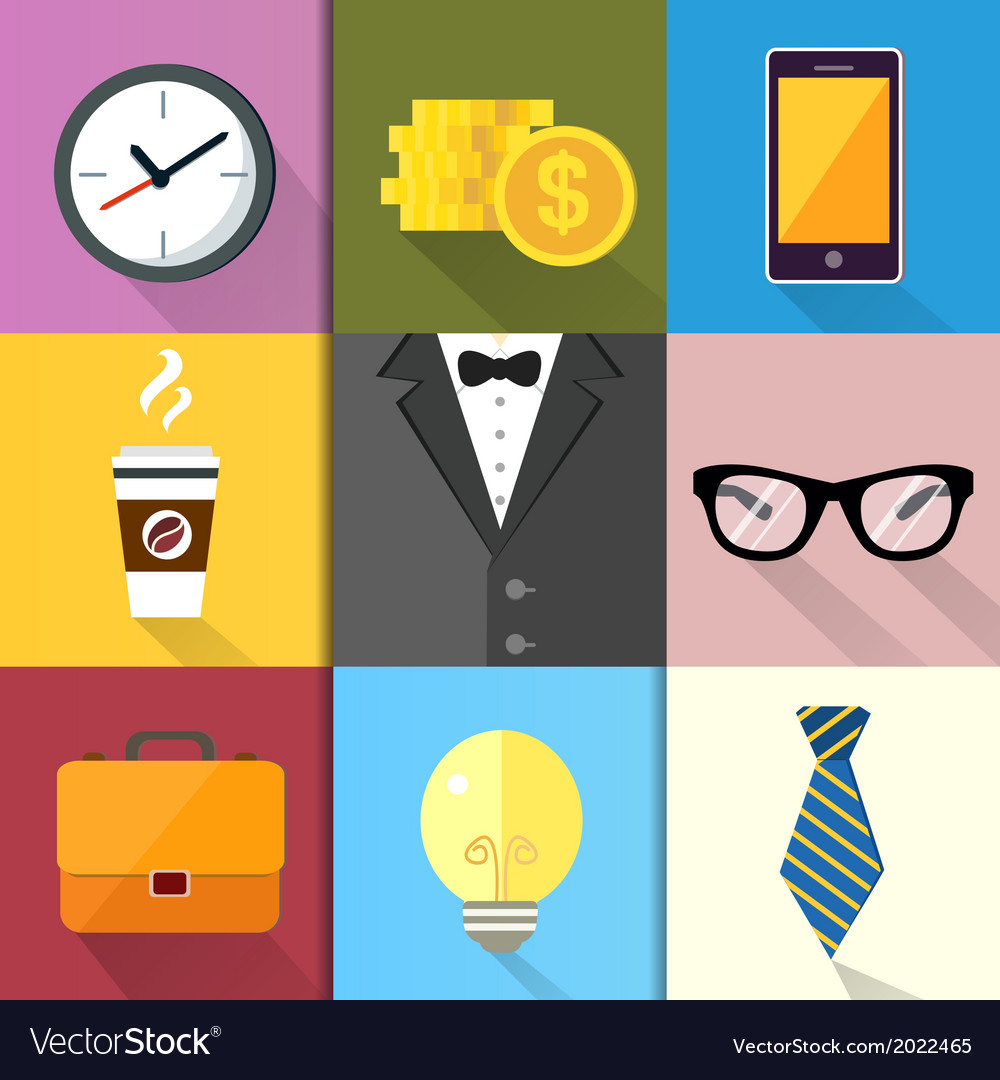 Business suits icons set vector | Price: 1 Credit (USD $1)