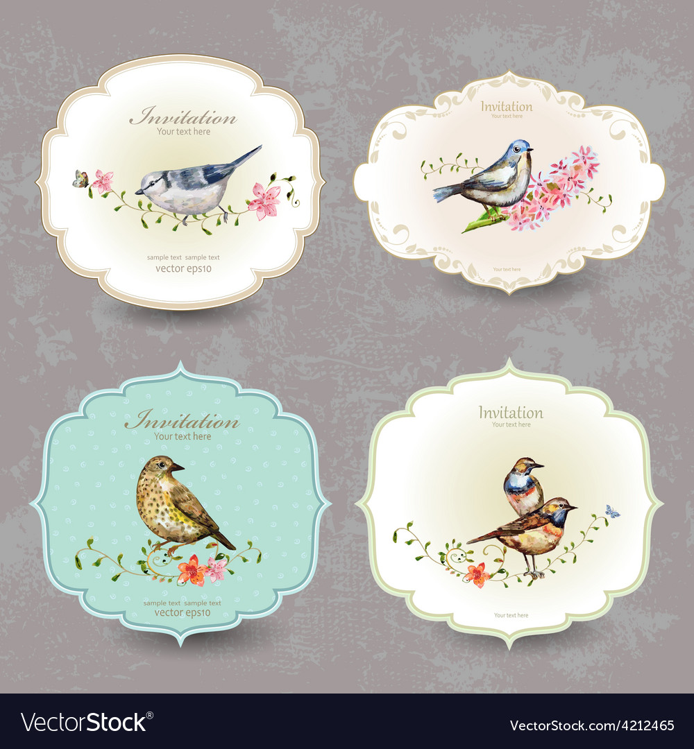 Collection retro label of cute bird watercolor vector