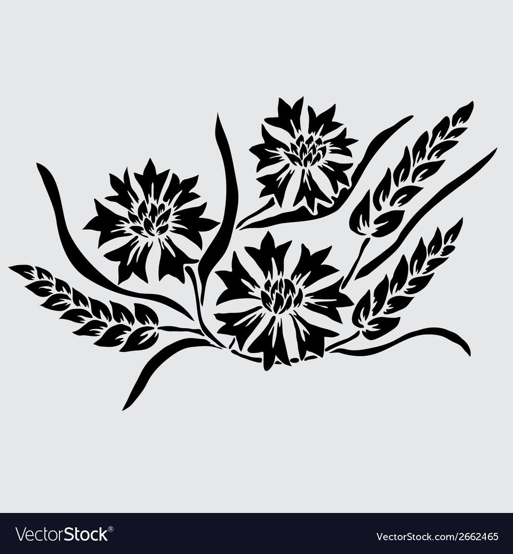 Decorative cornflowers and wheat vector | Price: 1 Credit (USD $1)