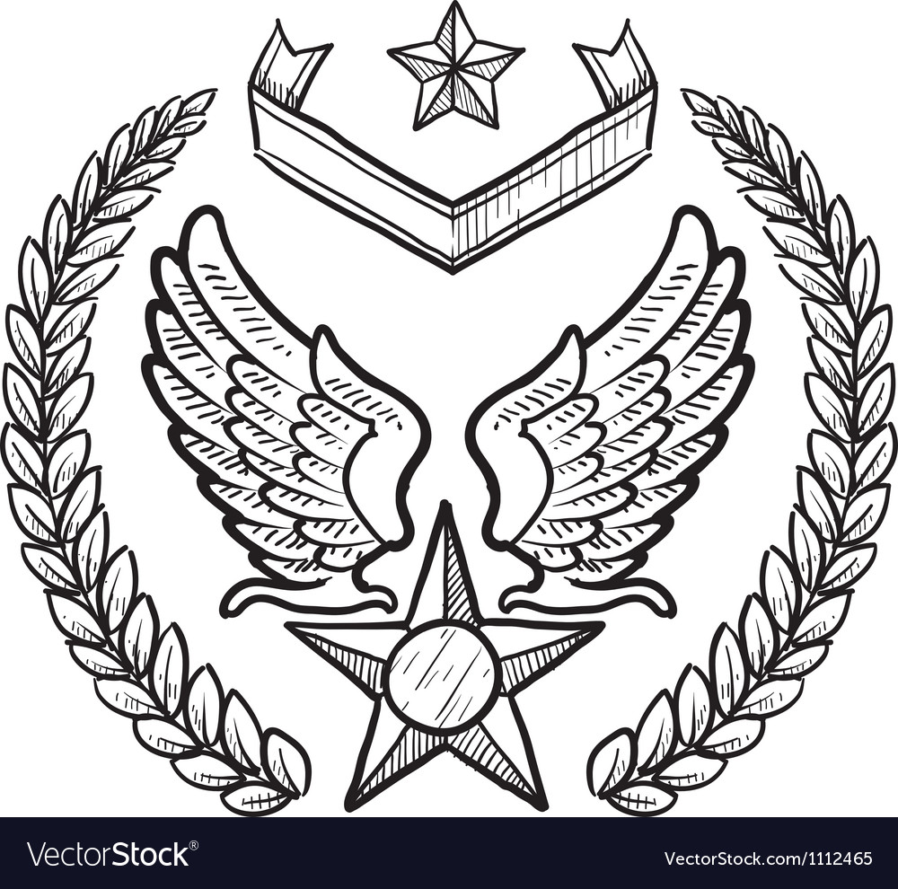 Doodle us military wreath airforce vector | Price: 1 Credit (USD $1)