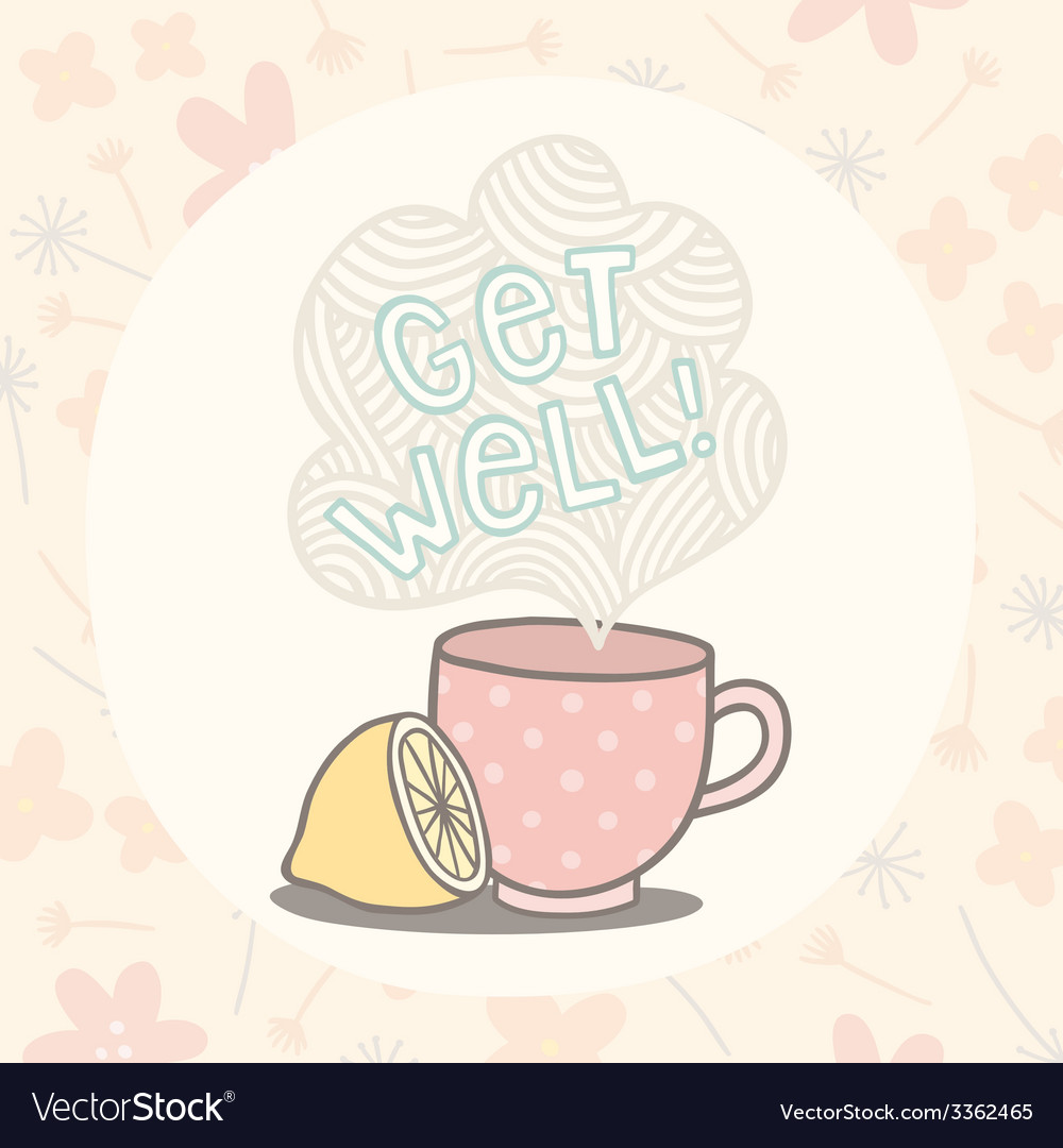 Get well greeting card with cute cup vector | Price: 1 Credit (USD $1)