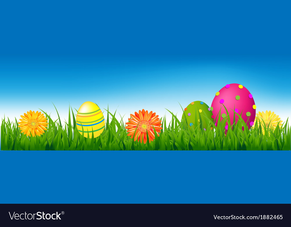 Happy easter banner with grass and eggs vector | Price: 1 Credit (USD $1)
