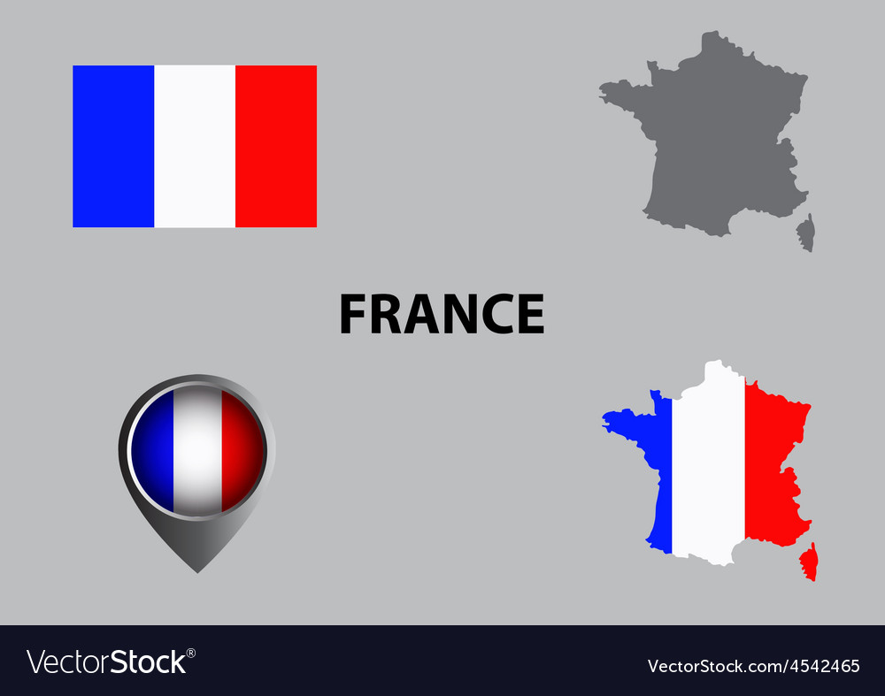Map of france and symbol vector | Price: 1 Credit (USD $1)