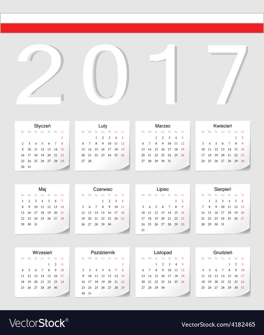 Polish 2017 calendar with shadow angles vector | Price: 1 Credit (USD $1)