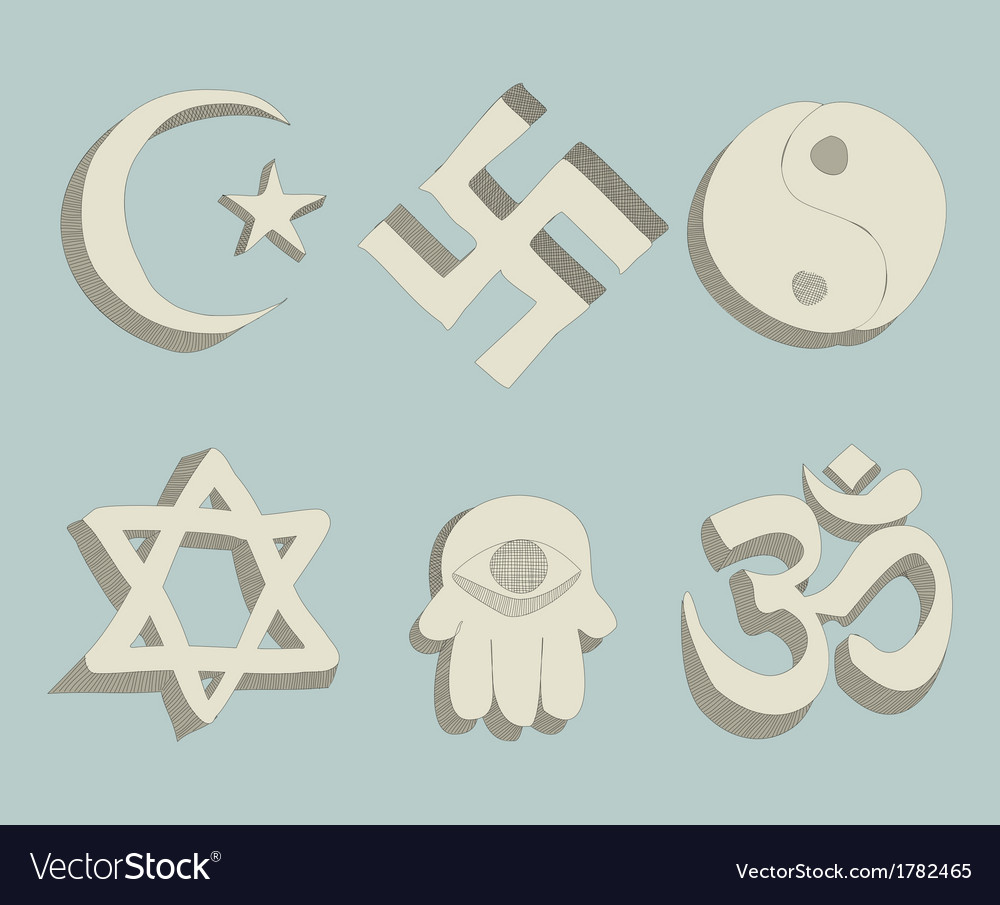 Religious signs doodle vector | Price: 1 Credit (USD $1)