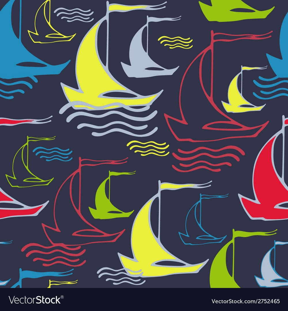 Seamless pattern with decorative ships vector | Price: 1 Credit (USD $1)