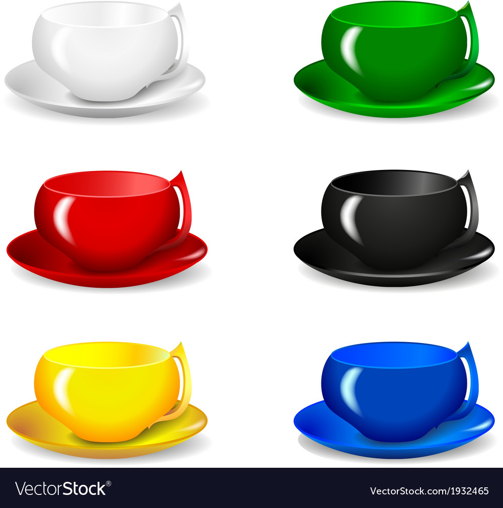 Set of beautiful colorful cups vector | Price: 1 Credit (USD $1)