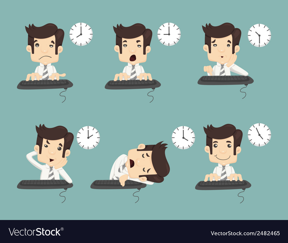 Set of businessman working time vector | Price: 1 Credit (USD $1)