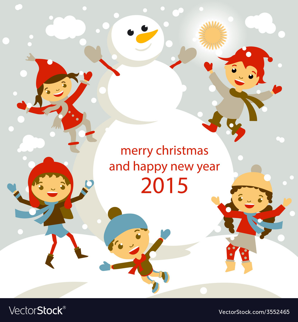Set of characters funny kids winter snow 2015 vector   Price: 1 Credit (USD $1)