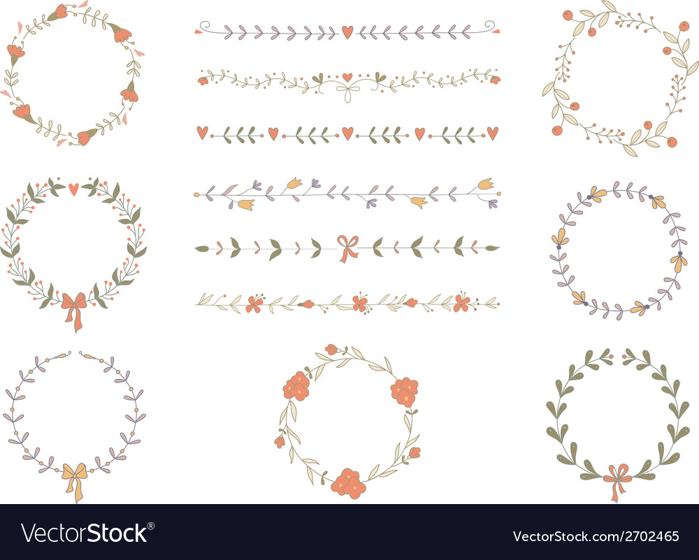 Set of hand drawn wreaths and boarders vector | Price: 1 Credit (USD $1)