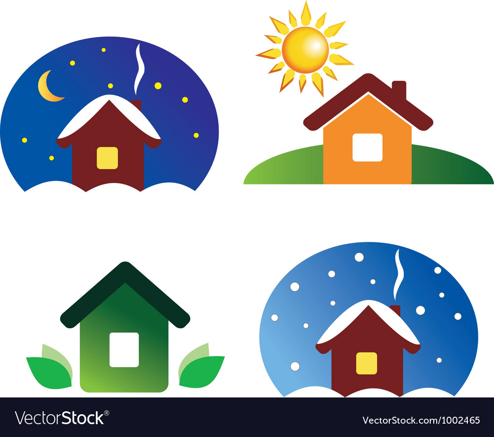 Set of house icons different season and weather vector | Price: 1 Credit (USD $1)
