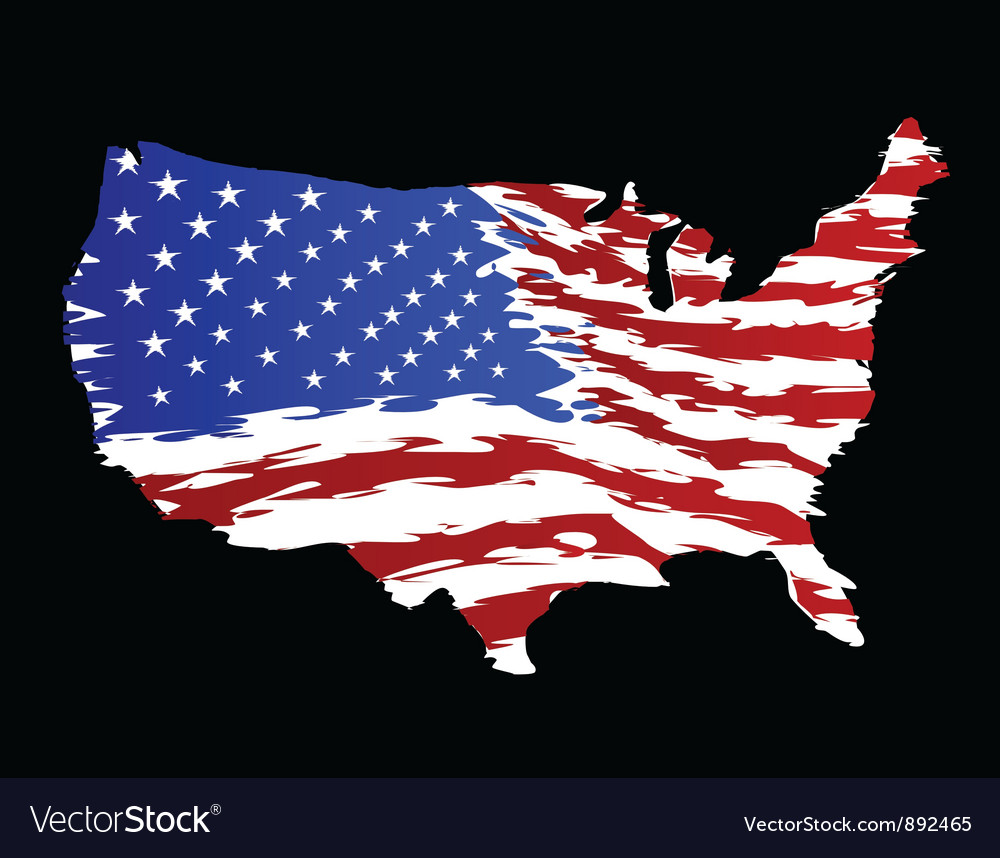Usa flag in shape of america vector | Price: 1 Credit (USD $1)