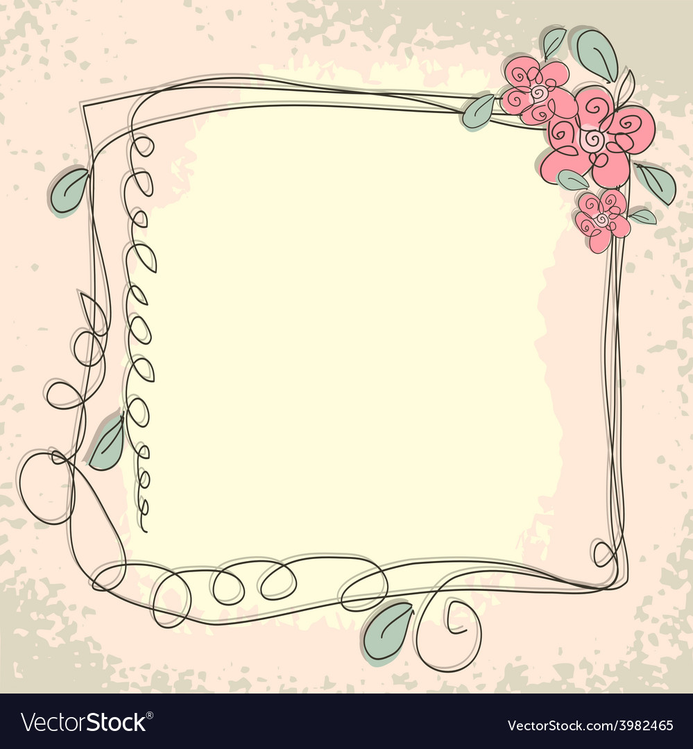 Vintage frame pattern and birds hand-drawing vector | Price: 1 Credit (USD $1)