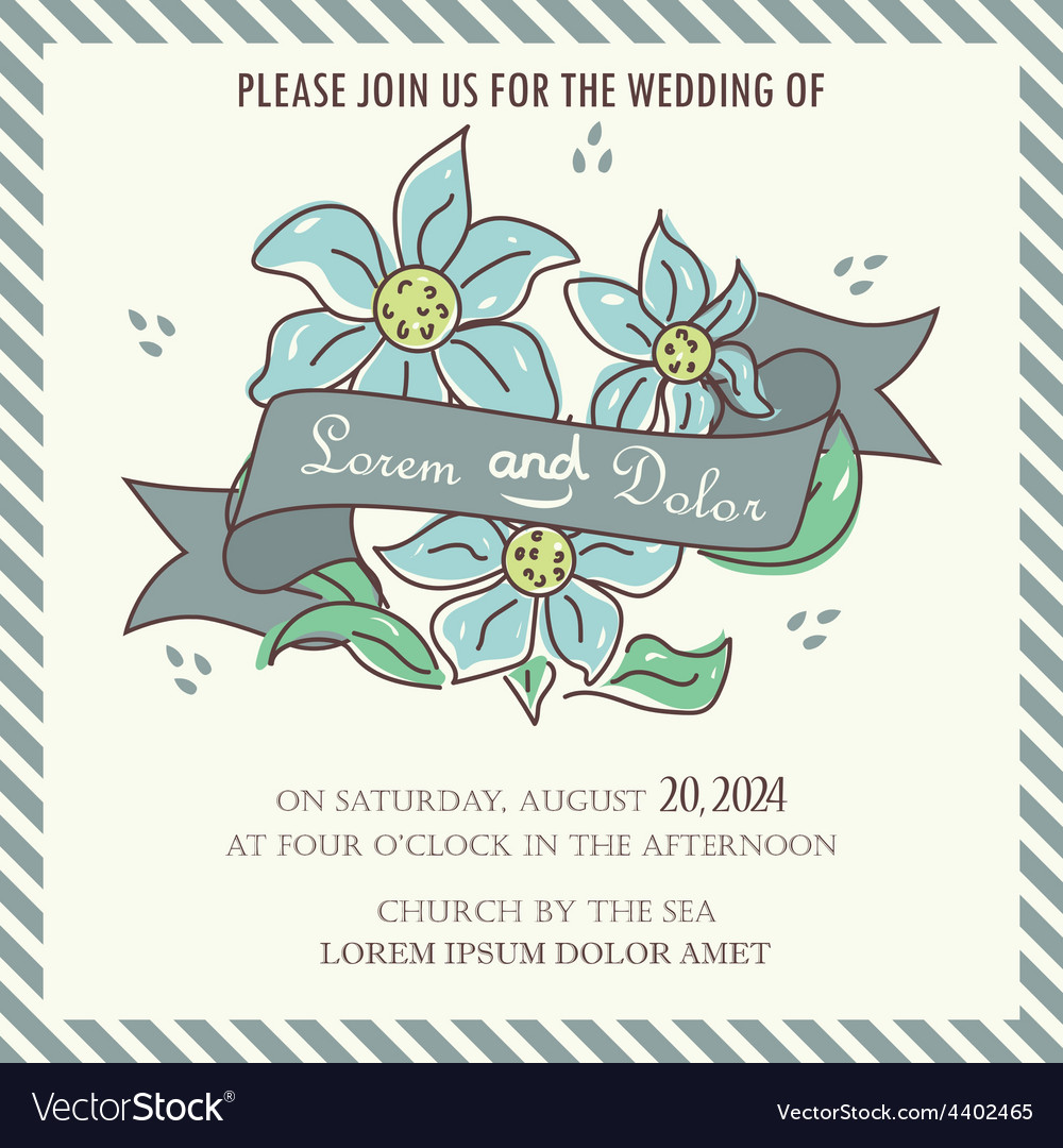 Wedding invitation blue flowers and ribbon vector | Price: 1 Credit (USD $1)