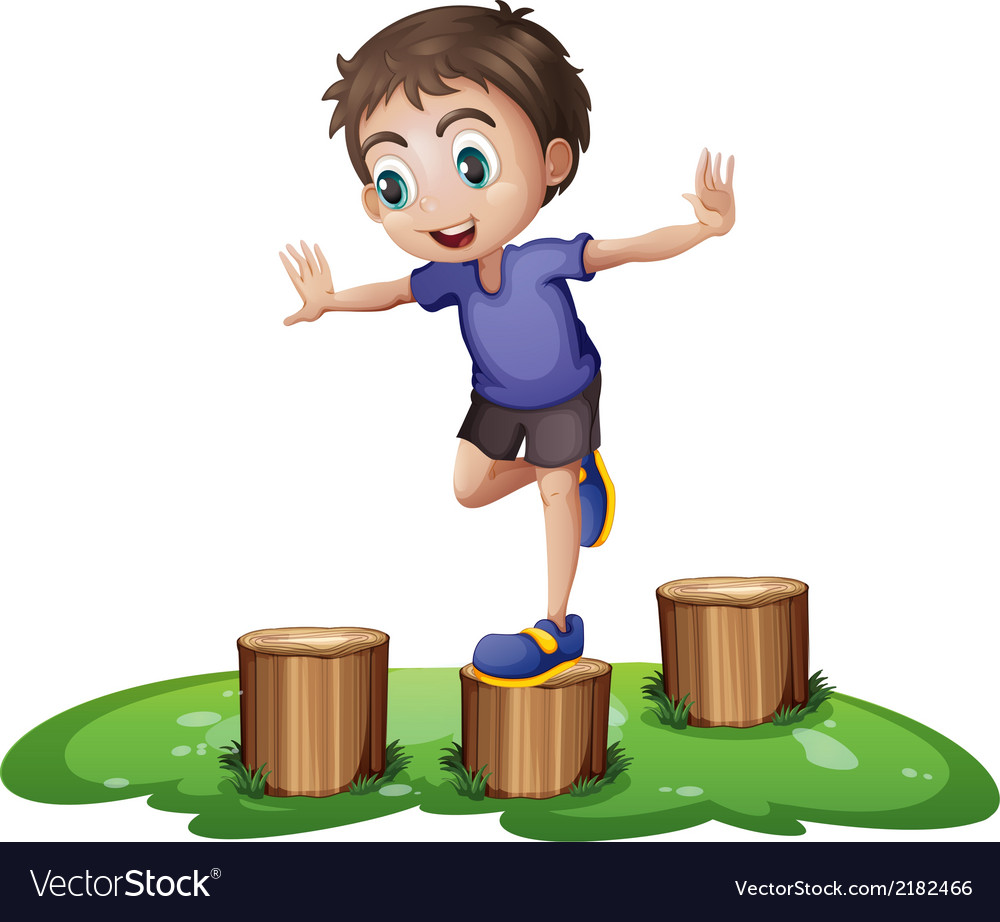 A young boy above the stump vector | Price: 1 Credit (USD $1)