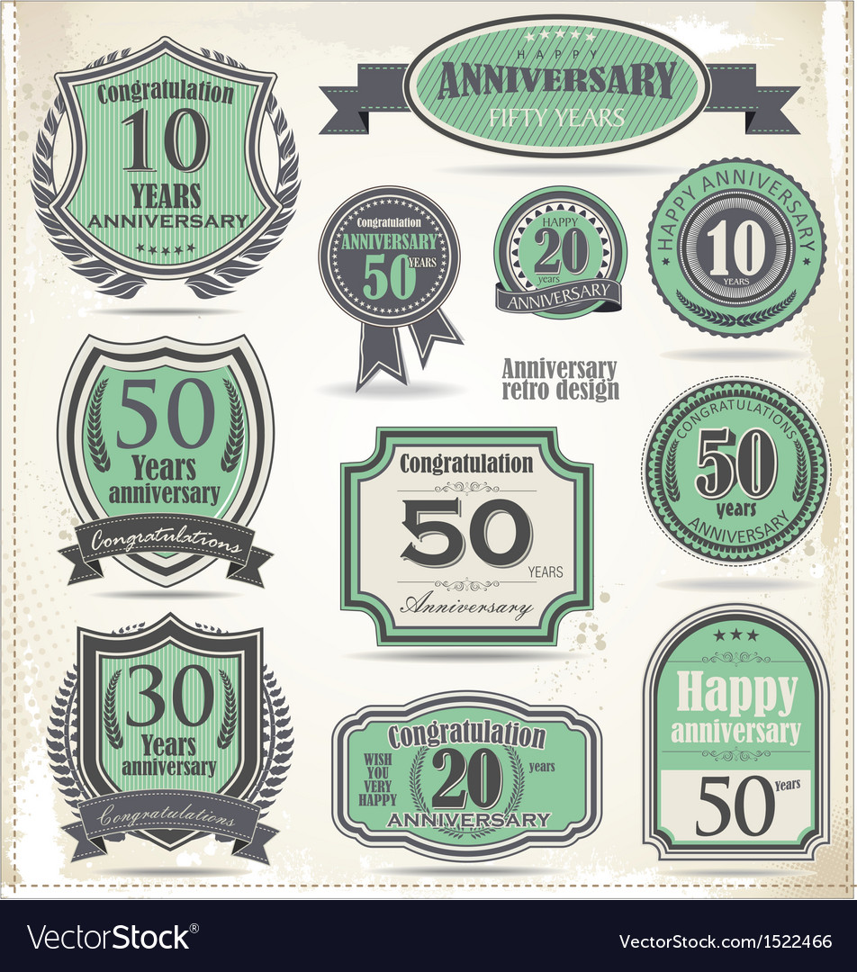 Anniversary badges and labels retro design vector | Price: 3 Credit (USD $3)
