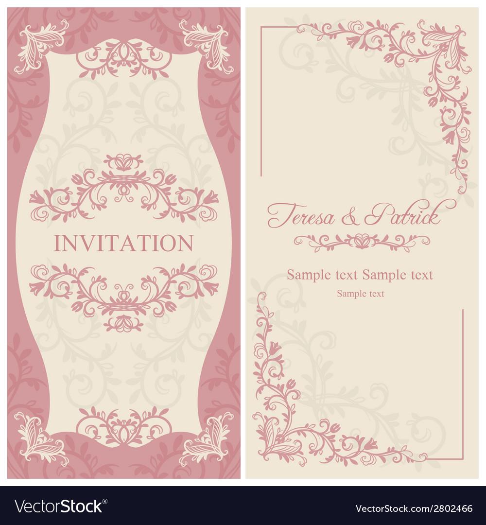 Baroque wedding invitation pink and beige vector | Price: 1 Credit (USD $1)