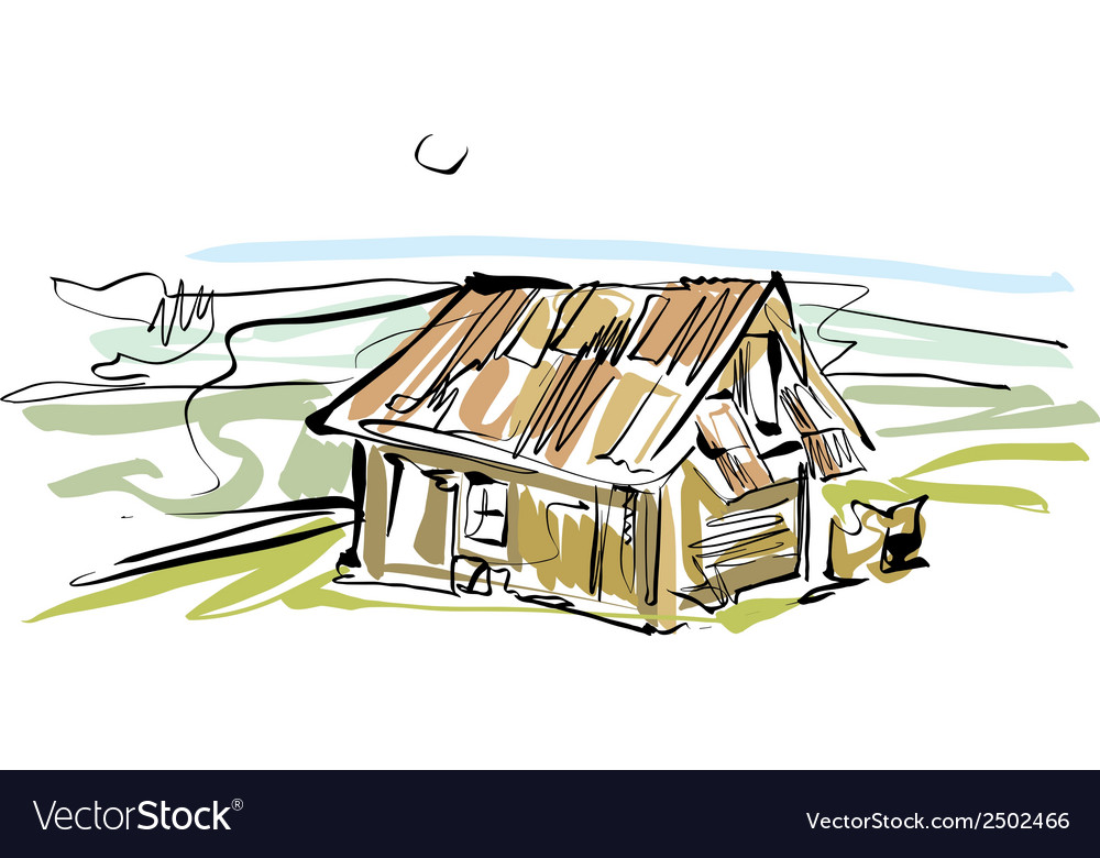 Colorful hand drawn house country house vector | Price: 1 Credit (USD $1)