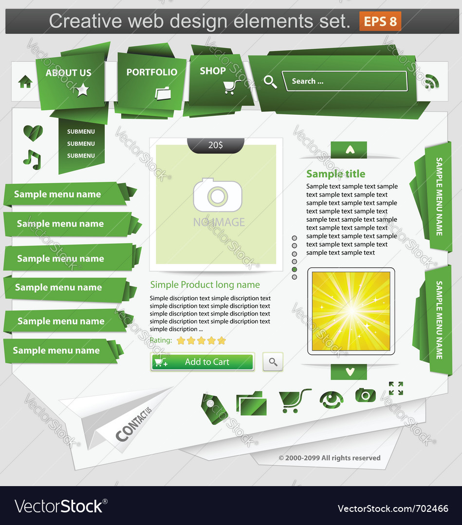 Creative web design elements set green vector | Price: 3 Credit (USD $3)