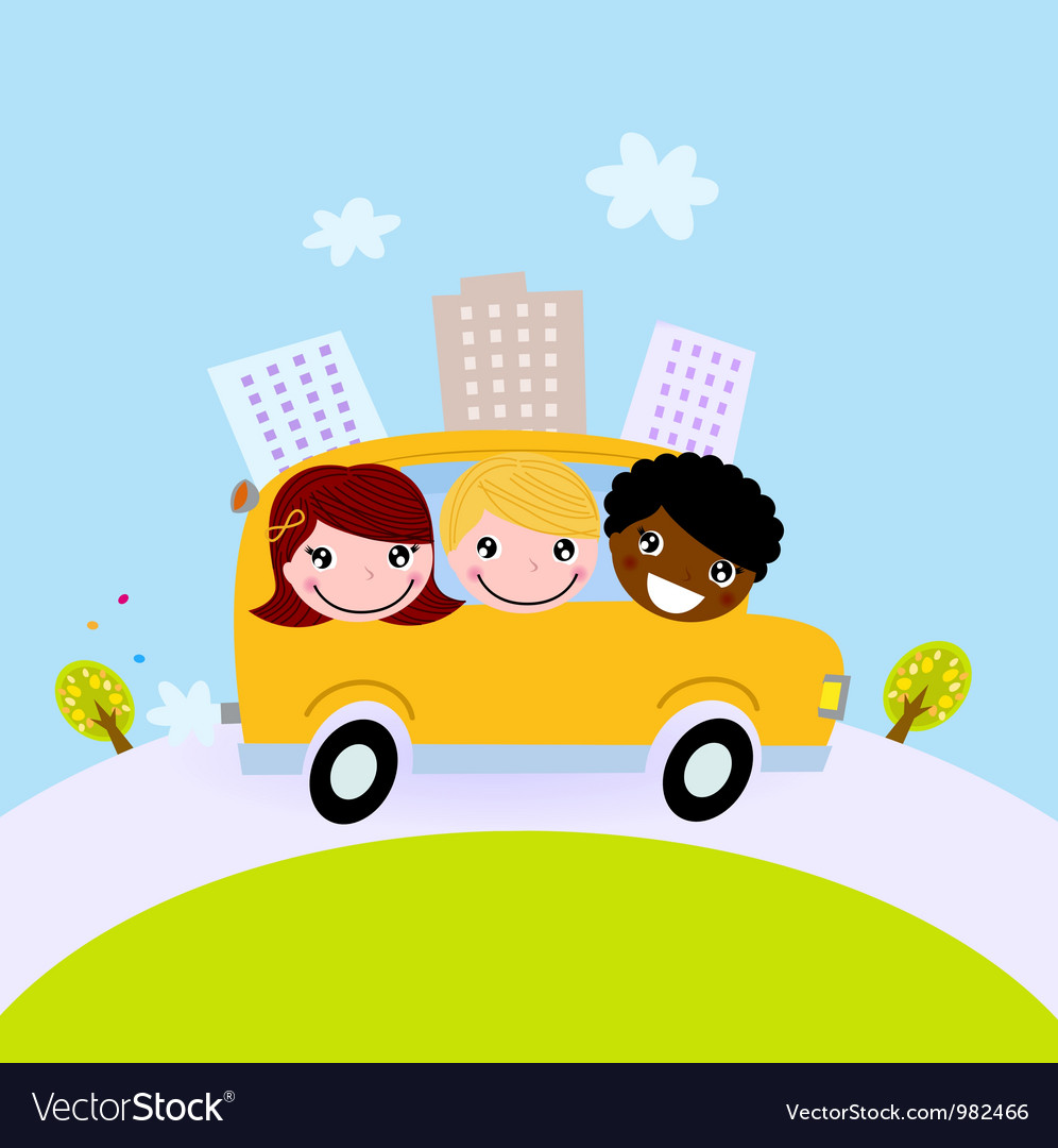 Cute kids in school bus on the hill vector | Price: 1 Credit (USD $1)