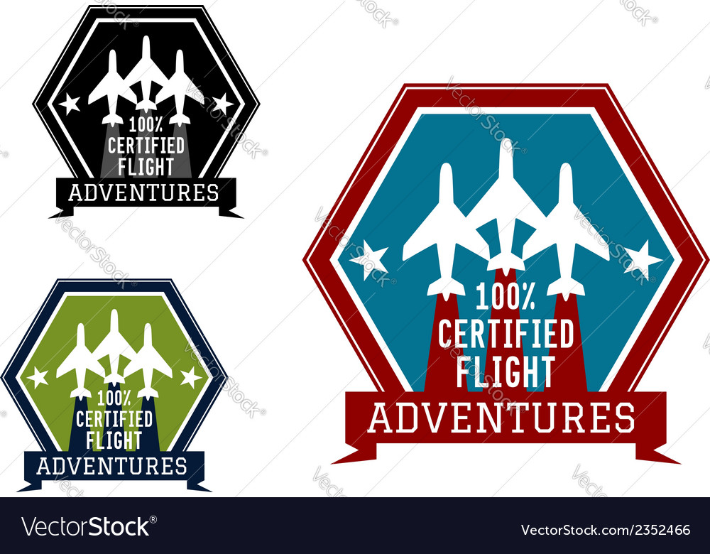 Flight adventures emblem or label vector | Price: 1 Credit (USD $1)