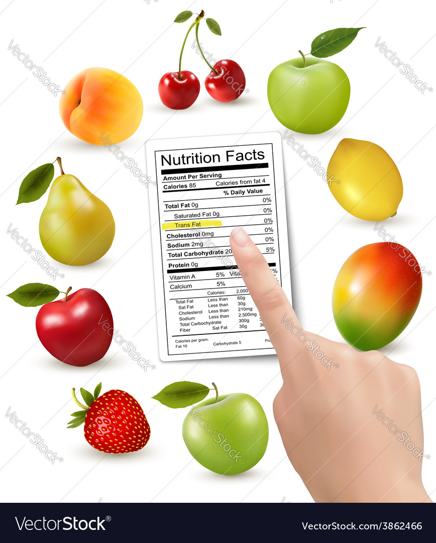 Fresh fruit with a nutrition facts label and hand vector | Price: 3 Credit (USD $3)