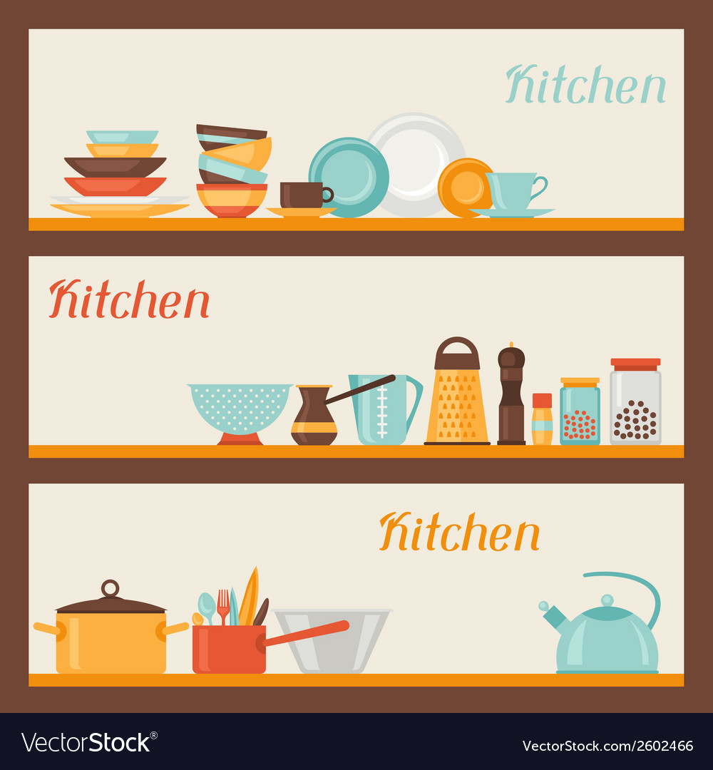 Horizontal banners with kitchen and restaurant vector | Price: 1 Credit (USD $1)