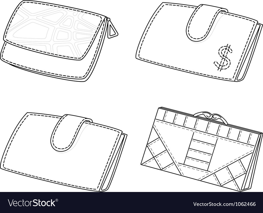 Leather wallets set contour vector | Price: 1 Credit (USD $1)
