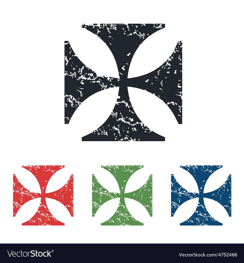 Maltese cross grunge icon set vector | Price: 1 Credit (USD $1)
