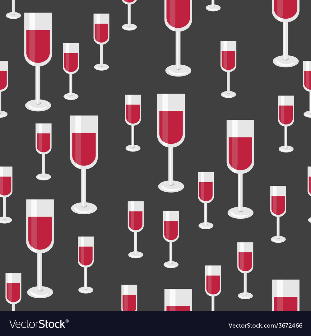 Seamless pattern with glasses of red wine vector | Price: 1 Credit (USD $1)