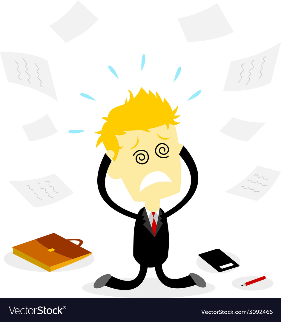 Stressed bussiness man holding head vector | Price: 1 Credit (USD $1)