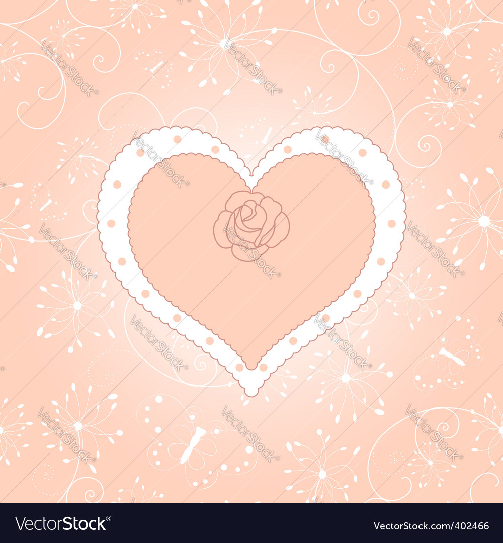 Vintage floral heart with rose vector | Price: 1 Credit (USD $1)