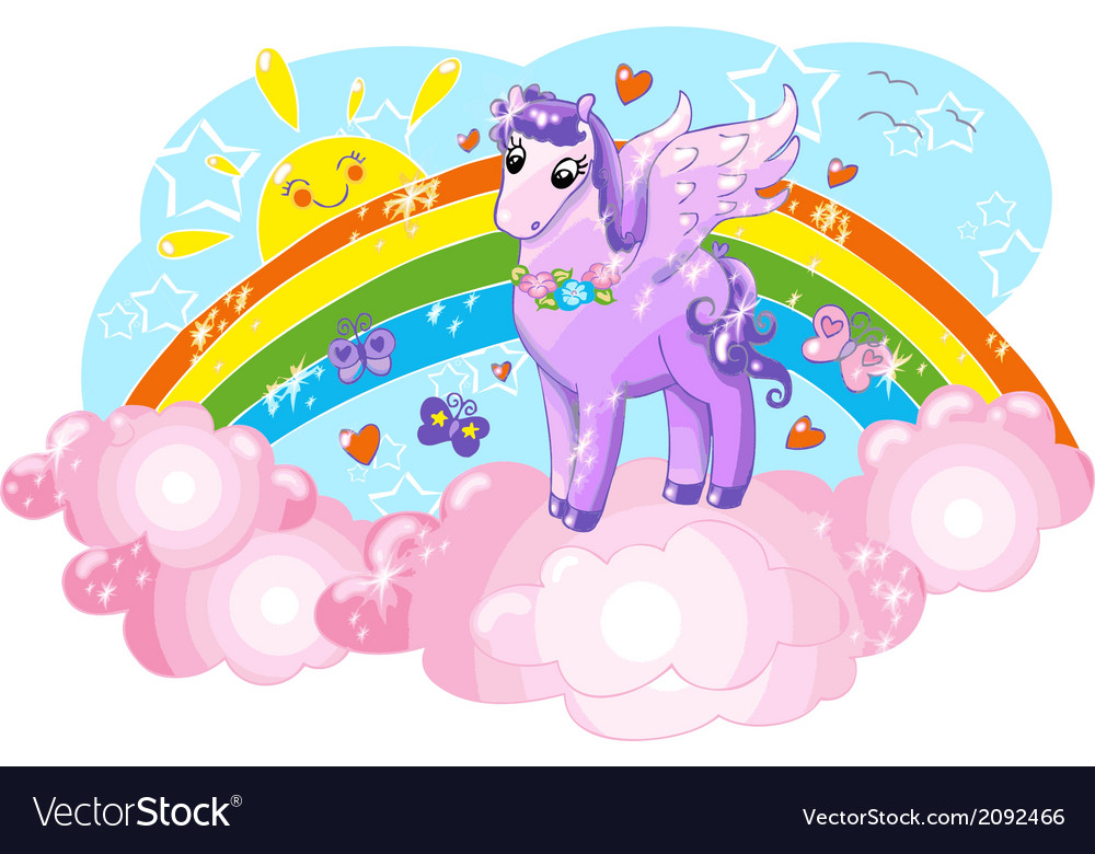 Violet pegasus in the sky with rainbow vector