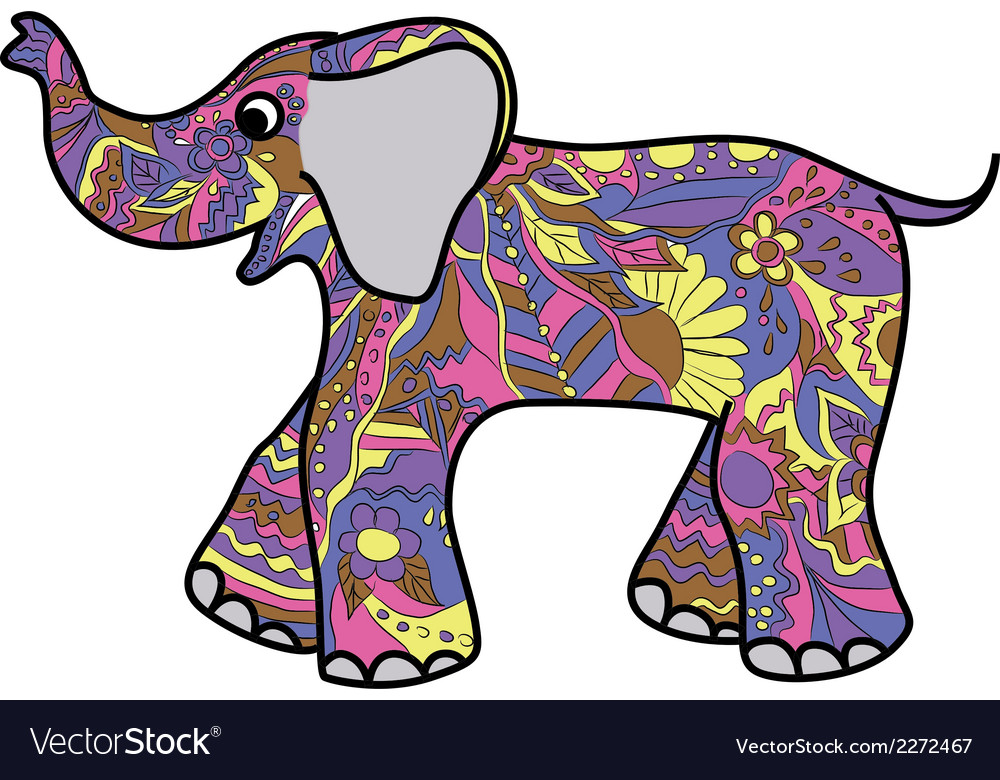 Colorful elephant vector | Price: 1 Credit (USD $1)
