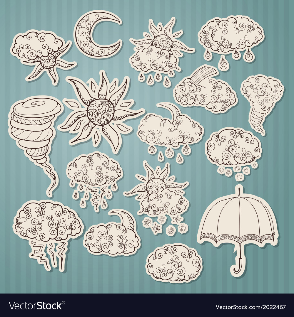 Doodle weather forecast stickers vector | Price: 1 Credit (USD $1)
