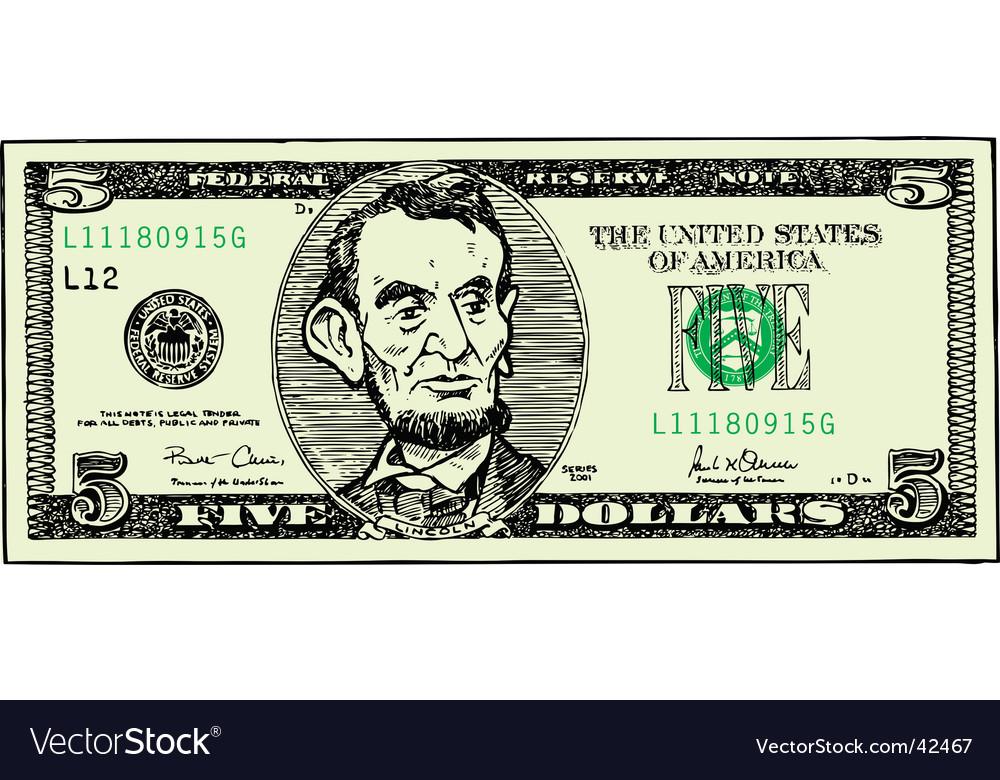 Five dollar bill vector | Price: 1 Credit (USD $1)