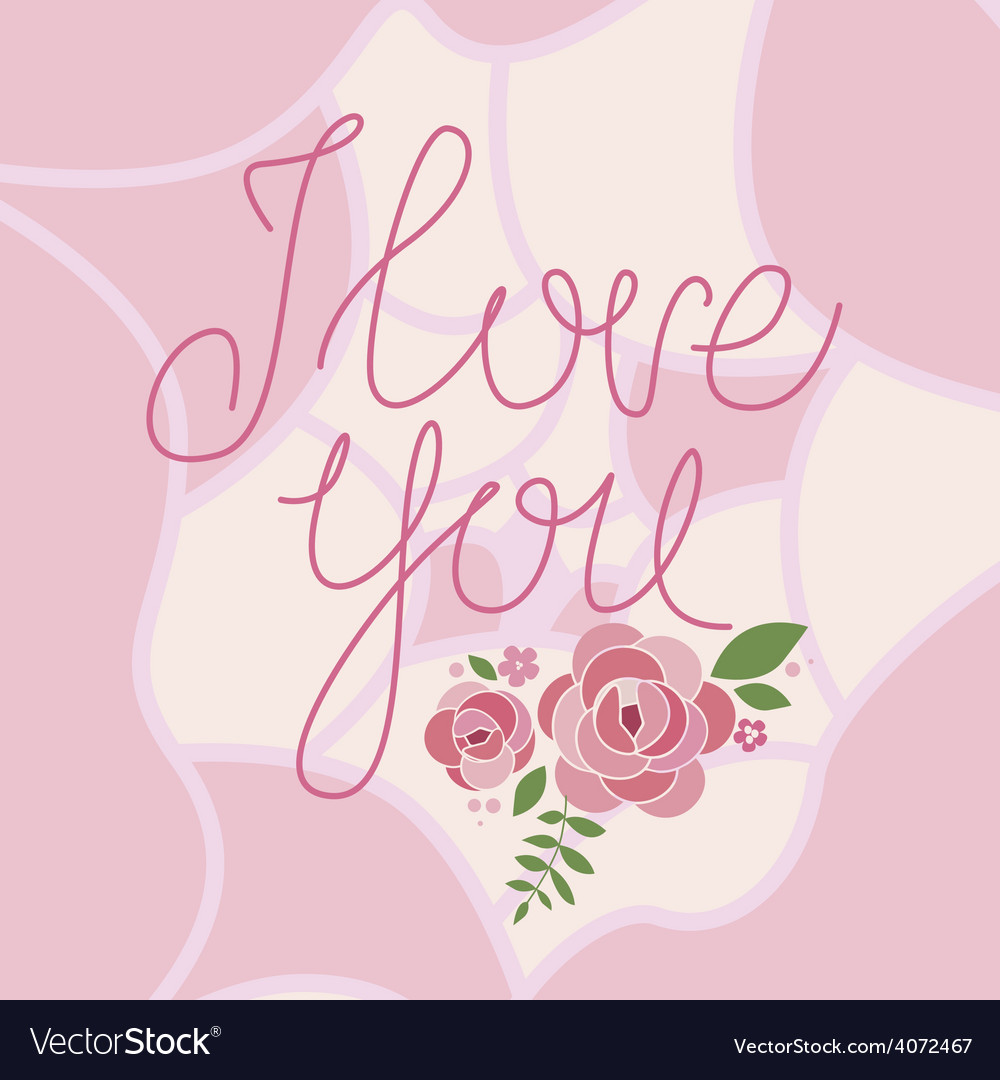 I love you floral print vector | Price: 1 Credit (USD $1)