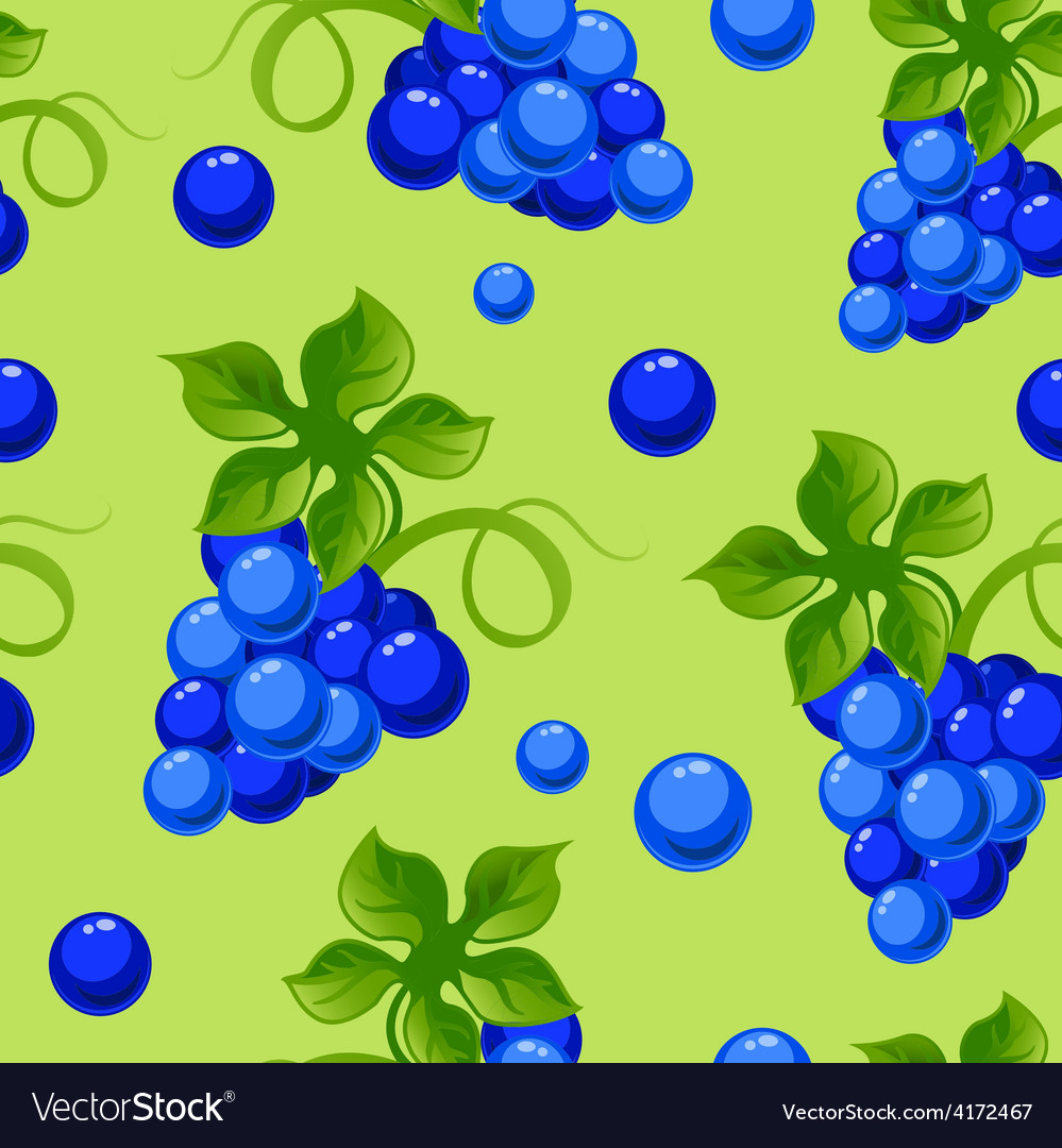 Seamless background with bright fresh jucy grapes vector | Price: 1 Credit (USD $1)