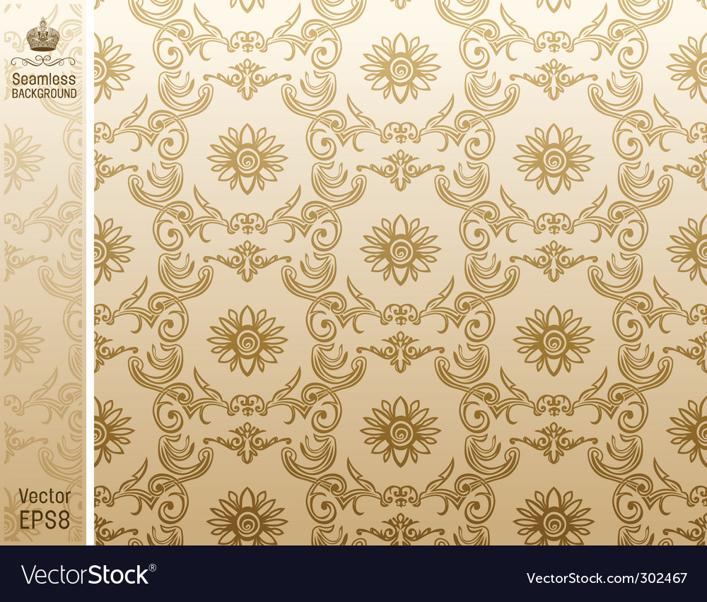 Seamless flower wallpaper pattern beige vector | Price: 1 Credit (USD $1)
